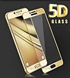 Galaxy C7 Pro Tempered Glass Screen Protector 5D (Golden) Edge to Edge Premium Quality Full Glue 9H Hardness Bubble Free Anti Scratch Screen Protector Tempered Glass For Samsung Galaxy C7 pro Marshland®