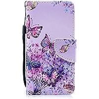 Herbests Hülle Huawei P20 Pro Handytasche Handyhülle Flip Case Cover Schutzhülle Retro Ledertasche Lederhülle Bookstyle Klapphülle Etui Kartenfächer,Schmetterling Lila Blumen