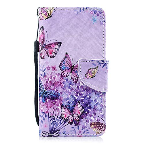 Kompatibel mit Hülle Galaxy S8 Handytasche Handyhülle Flip Case Cover Schutzhülle Retro Ledertasche Lederhülle Bookstyle Klapphülle Etui Kartenfächer,Schmetterling Lila Blumen