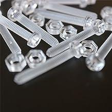 Paquete de 20 tornillos y tuercas transparentes, de plástico acrílico. M3 x 20mm