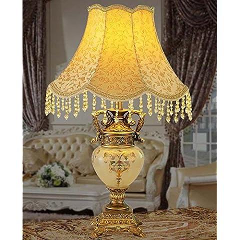YM@YG Atmosfera elegante stile europeo panno arte vetro soggiorno camera da letto lampada resina lampada da tavolo