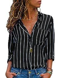 d1c355abf52 Aleumdr Womens V Neck Stripe Long Sleeve Loose Fit Button up Color Block Blouses  Tops