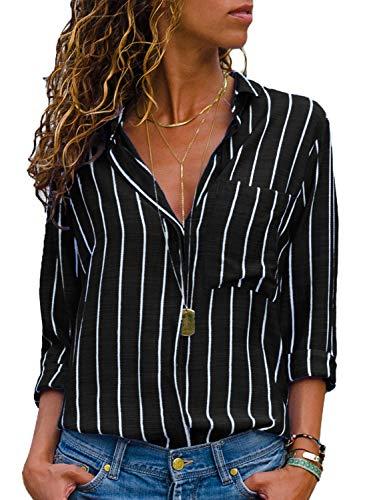 Aleumdr camicie donna a righe camicetta donna scollo a v con manica lunga blusa donna maglietta donna elegante