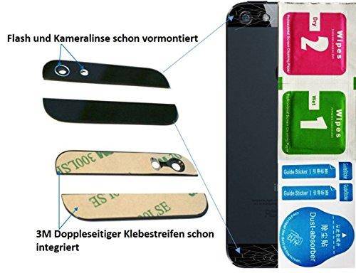 Schwarz 2-in1 Ersatz Glas Set (Oben / Unten) für iPhone 5 5G Backcover mit Blitz- und Kameralinse - Glasset inkl. 3-in1 Reinigungset - - Iphone Ersatz-linse 5c
