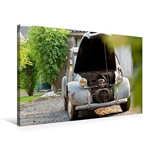 Premium Textil-Leinwand 75 cm x 50 cm quer, Minimalismus unter der Motorhaube | Wandbild, Bild auf Keilrahmen, Fertigbild auf echter Leinwand, Leinwanddruck: Citroën 2CV (CALVENDO Technologie) (Klassische Motorhaube)