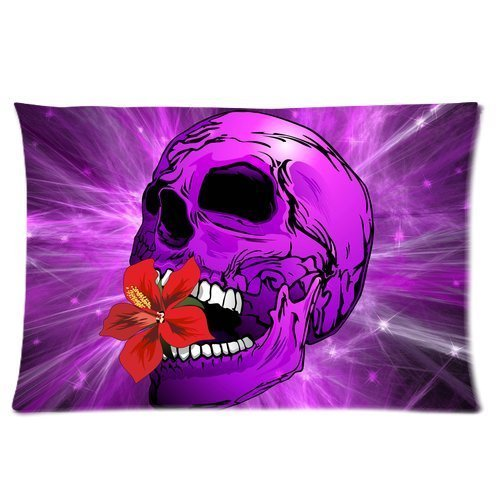 Designed Purple Sugar Skull with Hibiscus Flower Rectangle Soft Pillow Case Standard Size 20*30 inches