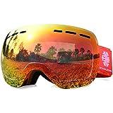 Snowledge Skibrille Damen & Herren Ski Goggles Rahmenlos Wechselobjektive Uvex Skibrille Verspiegelt Anti-Beschlag Helmkompatible OTG für Brillenträger(Full Rot)