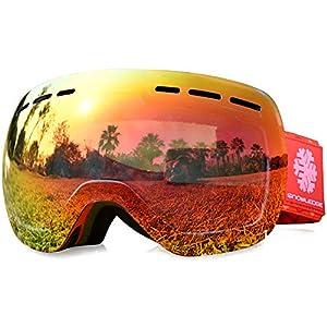 Snowledge Skibrille Kinder, Ski Goggles Kids Snowboard Brille Sphärische Doppelscheibe 100% UV-Schutzbrille Anti-Beschlag 3-Lagige Schaum für Kinder von 6-13 Jahren
