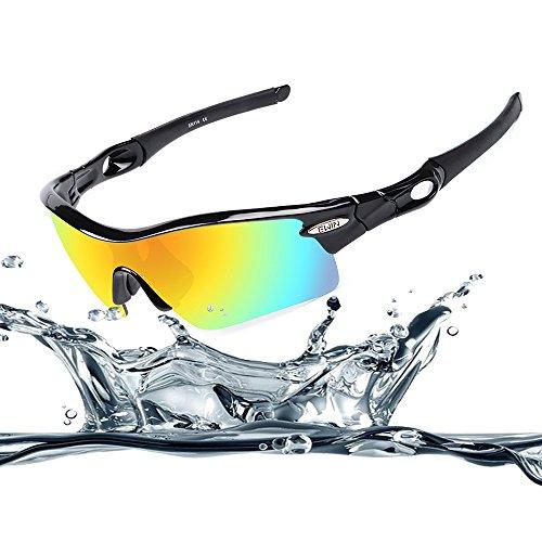 Ewin E12 occhiali sportivi occhiali da sole polarizzati TR90, 4 lenti intercambiabili per donne uomini in bicicletta di guida in bicicletta Pesca Golf e altre attività all'aperto (Nero&Nero)
