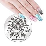 NICOLE DIARY Runde Nagel Stamping Platte Dreamcatcher Nail Stamps Mond Feder Blume Quaste Nail Art Bild polnischen Stamping Vorlage Maniküre Nagel Werkzeuge (ND-001)