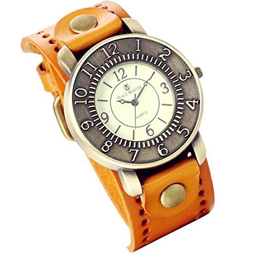 lancardo Vintage Bronze breit Leder Manschette Band Mädchen Damen-Armbanduhr (gelb)