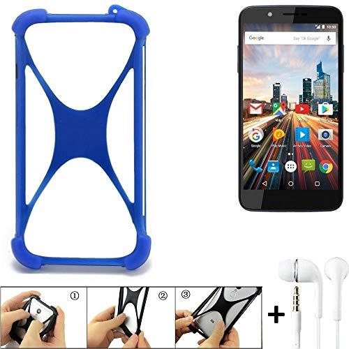 K-S-Trade Handyhülle für Archos 55 Helium 4Seasons Bumper Schutzhülle Silikon Schutz Hülle Cover Case Silikoncase Silikonbumper TPU Softcase Smartphone, Blau (1x), Headphones