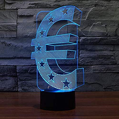 Bunte 3D Conversion Lights Neuheit Bunte 3D Visualisierung Euro Währungssymbol Form Nachtlicht Usb Led Tischlampe Geschenk Schlafzimmer Beleuchtung Dekoration Spiegel Illusion Lampe