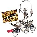 Brubaker–Botellero con forma de pescador en un bote Metal Regalo Escultura