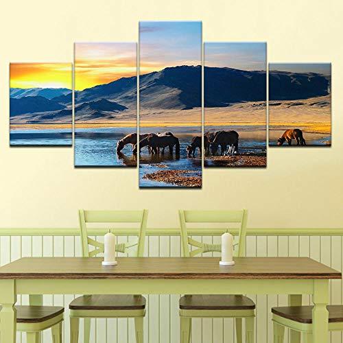 Preisvergleich Produktbild WODES Mustang Tier 5 Stück Tapete Moderne Modulare Poster Kunst Leinwand Malerei Für Wohnzimmer Dekoration 30 * 40 * 2 30 * 60 * 2 30 * 80Cm Kein Rahmen