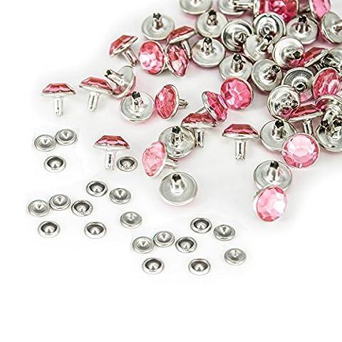 10mm mit Diamant Nieten mit farbigen Acryl für Jeans Stoff Leder Taschen Gürtel durch Hochzeit Decor, metall, hellrosa, 10 mm