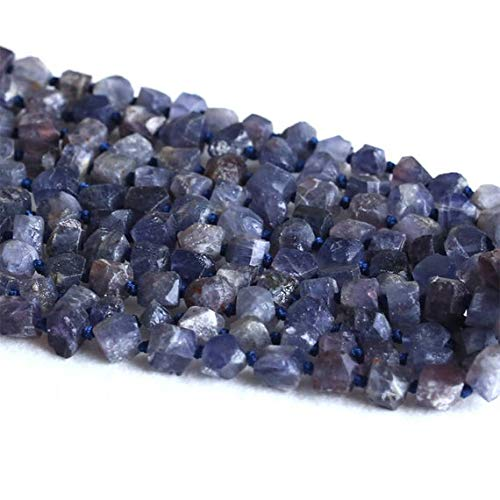 LOVEKUSH 50% Off Gemstone Jewellery 1 Strands Natural Dark Blue Iolite Lynx Stone Hand Cut Nugget Free Form Loose Rough Matte Faceted Beads 6-9-mm 15