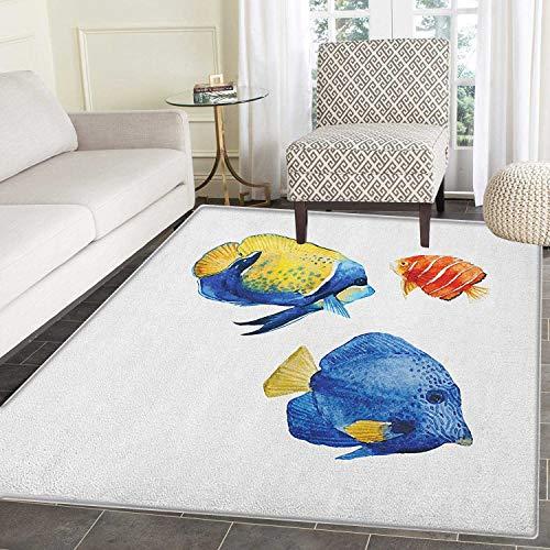 Yaoni Teppich Teppich tropisches Aquarium Leben Diskusfische Fische und Goldfische in verschiedenen Mustern Leben Esszimmer Schlafzimmer Flur Büro Teppich 3' x 4 Azure blau gelb Scarlet -