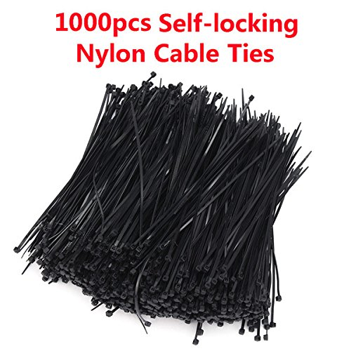 ExcLent 1000Pcs 4 * 200Mm Selbstsichernde Nylon Kunststoff Zip Trim Wrap Netzwerk Kabel Schleife Krawatten Draht