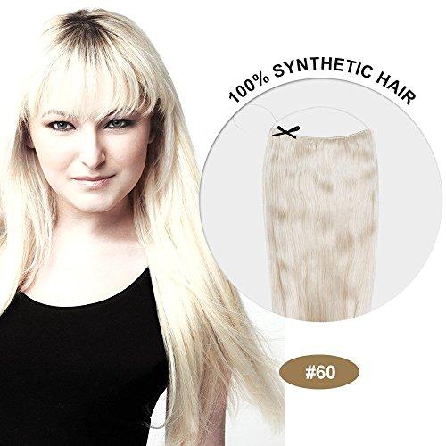 Secret Hair/ Flip-In Hair 20 Inches Invisible Attached Straight Hair / Balabella Hair (White Blonde(#60))