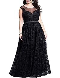 zhxinashu Partido de Tamaño Grande para Mujer Maxi Vestido Encaje Elegante Vestido de Noche