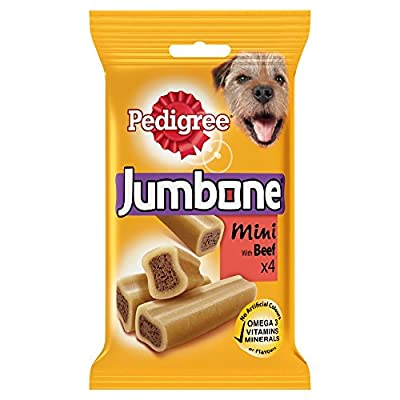 Pedigree Jumbone Small Dog Treats with Beef, 4 Chews