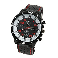 CHIC*MALL Fashion Rubber Silicone F1 GT Men Sports watch Casual Cycling Analog wrist watch (White face red word)