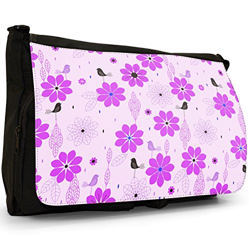 Stile moderno con fiori e uccelli, colore: nero, Borsa Messenger-Borsa a tracolla in tela, borsa per Laptop, scuola Nero (viola)