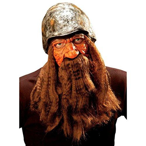 Für Erwachsene Barbar Krieger Kostüm - NET TOYS Wikingermaske Barbaren Maske mit silbernem Helm Perücke und Bart Zwergen Vollmaske mit Vollbart Räuber Faschingsmaske Zwerg Krieger Langhaar Latexmaske Mittelalter Kostüm Zubehör