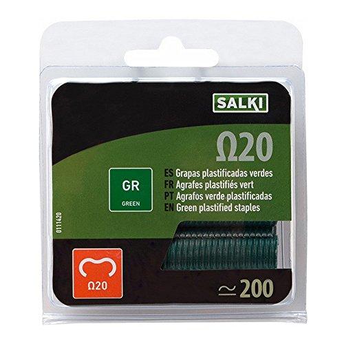 Salki 111620-Vous la Plaquette Thermoformée de 1 000 Agrafes pour Clôtures Type Omega 20 Vert