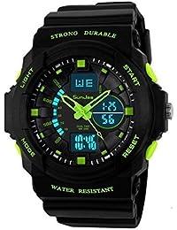 SunJas Durable Montre Sport avec Écran Lumineux ,Multifonctions Bracelet Électronique, Étanche à L'eau Jusqu'à 50 M ,avec Lumière LED pour L'obscurité et de Sports Extérieurs Montre ( vert)