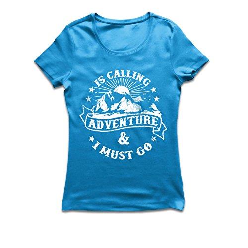 Frauen T-Shirt Ruft Abenteuer - Familienurlaub Urlaub Kleidung, Bergwandern (XX-Large Blau Mehrfarben) (Fitted Australien T-shirt)