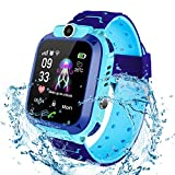 Jaybest Niños SmartWatch Phone -Niños Impermeable Smartwatch con rastreador de GPS con Linterna de Llamada SOS cámara Pantalla táctil Juego Smartwatch Childrens Gift (Azul)