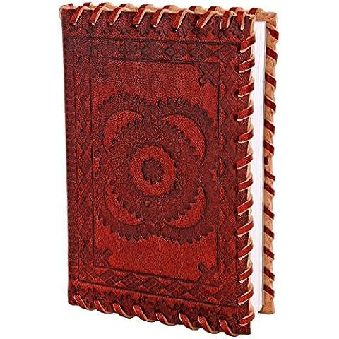 Diario de cuero auténtico (15,2 X 10,7 X 2,5 cm) cojín de escritura Cuaderno Planificador con papel hecho a