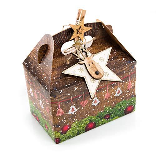 3 Stück Verpackung Weihnachtsgeschenke 18,5 x 12,5 x 12 cm Weihnachten rot grün Schachtel Holz-Optik BRAUN Stern gold Dekoklammer - Geschenke für Kunden Weihnachten natürlich verpacken
