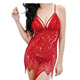 Anglewolf Womens Lace Babydoll Sleepwear Halter Nightwear Mesh Lingerie Fashion Ladies Sexy Lace Hollow Out Bodysuit Nightwear Comfortable Underwear Camisole (Red, Free Size)