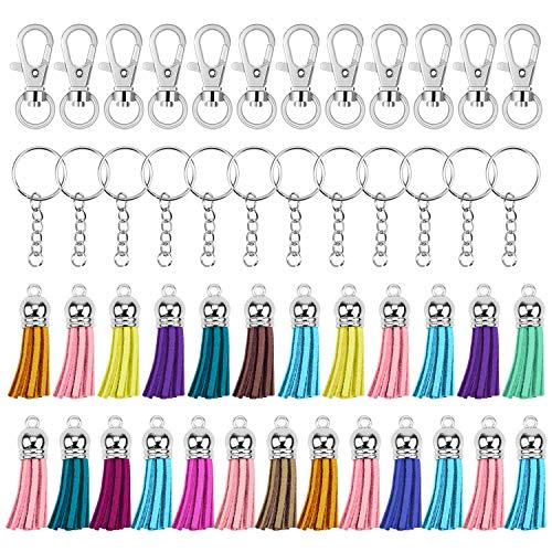 Hysagtek Lot de 125 anneaux porte-clés en vrac - Fermoirs pivotants, porte-clés fendus avec chaîne et anneaux de sauts, daim - Accessoires pour bricolage de projets créatifs, création de bijoux