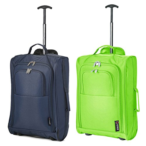 Set of 2 Super Lightweight Cabin Approved Luggage Travel Wheely Suitcase Wheeled Bags Bag (Green + Navy)
