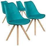 Menzzo Lot de 4 chaises scandinaves Goya Tissu Bleu, Clair, 49x53x82 cm