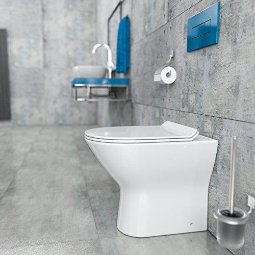 KERABAD Design Spülrandlos Stand-WC Toilette WC Schüssel inkl. WC Sitz mit Absenkautomatik aus Duroplast KB-0543 Randlos