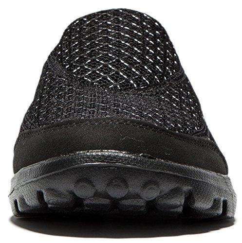 Viihahn Hommes Performance Slip-On Respirante Mesh De Marche Chaussures Noir