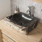 Vasque de salle de bain en pierre bois pétrifié fossilisé noir 50 CM
