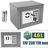Electronic Digital Offenes Feuer Safe Box mit 2Schlüssel Stahl Sicherheit Geld Cash Schmuck wichtiges Dokument Safety Box Home Office 17x 23x 17cm (Grau)