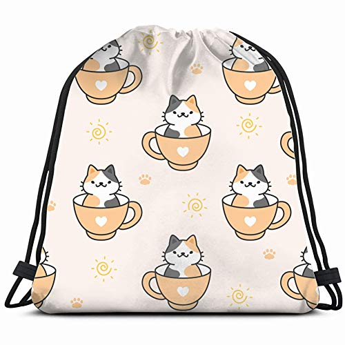 DD Decorative Cute cat Cup Coffee Animals Wildlife Drawstring Backpack Gym Sack Lightweight Bag Water Resistant Gym Backpack for Women&Men for Sports,Travelling,Hiking,Camping,Shopping Yoga -