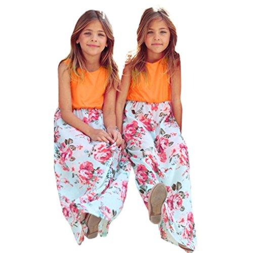 MOM & Me Kleinkind Baby Mädchen Floral lange Kleid Kids Party Bademode Familie Sommer schönes Kleid (xl, Orange) (Baby Mini Me Kostüme)