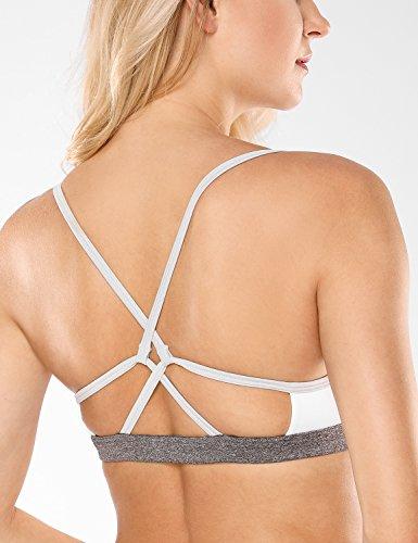 CRZ YOGA Femme Soutien-Gorge de Yoga Sport à Dos Double Croisé Maintien Léger Blanc