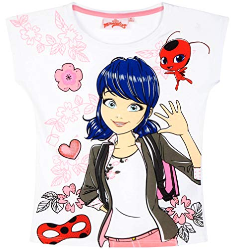 Miraculous Ladybug Miraculous Ladybug T-Shirt Sommer Mädchen Tikki Shirt (Weiß, 104)