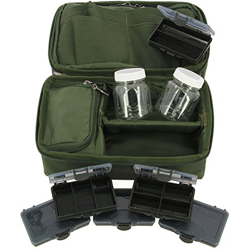 NGT Angeln komplett starr Carp Rig Tasche System + gluckst Töpfe & verschiedenen Bit Boxen (Tackle System Box)