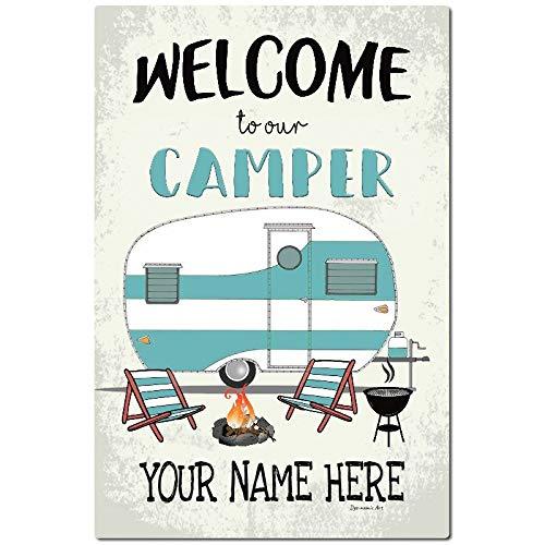 Personalisiertes Camping-Metallschild Willkommen Schild Camping Dekor Wohnmobilschild Wanddeko Anhänger Schild Aluminium Schild 20,3 x 30,5 cm