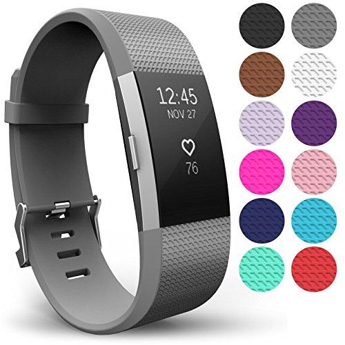 Yousave Accessories® Armband für Fitbit Charge 2, Ersatz Fitness Armband und Uhrenarmband, Silikon Sportarmband und Fitnessband, Wristband Armbänder für Fitbit Charge2 - Klein, Grau
